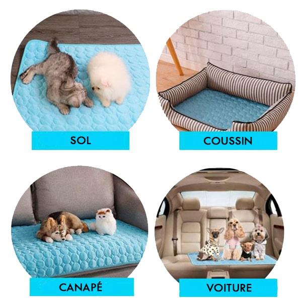 tapis rafraîchissant transportable-sol-canapé-voiture-panier