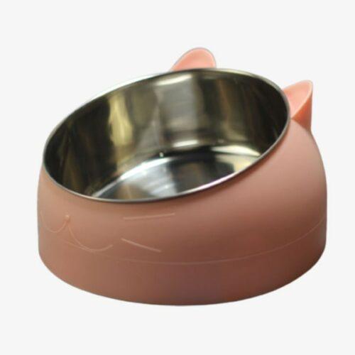 gamelle inclinée pour chat rose