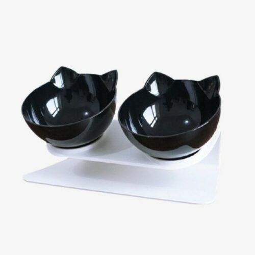 gamelle orthopédique pour chat double bol noir - gamelle anti-vomissement pour chat double bol noir