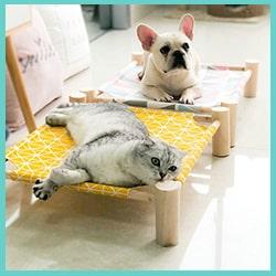 lit hamac surélevé chat et chien