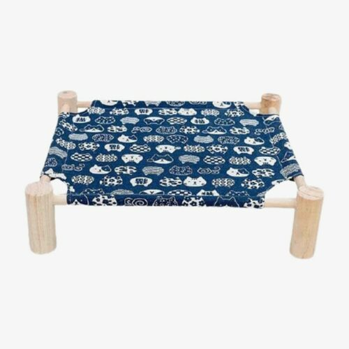 lit hamac surélevé pour chat bleu