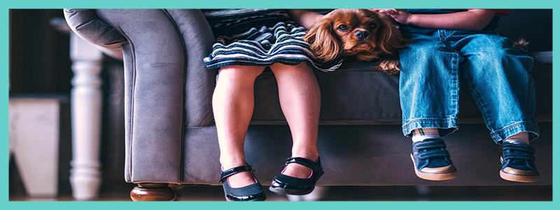 enfants assis sur canape avec chien