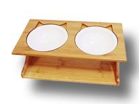prix gamelle orthopédique pour chat - gamelle inclinée avec support en bois