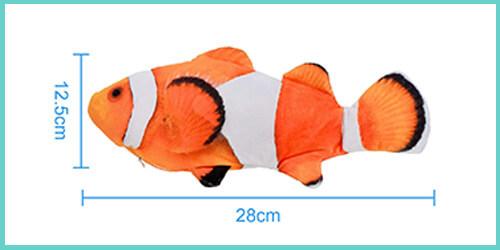 dimensions jouet poisson pour chat qui bouge
